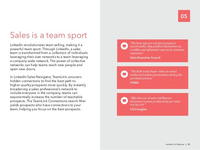 05Sales is a team sportpowerful team sport. Through LinkedIn, a salesnetworks can help teams reach new people andopen new ...