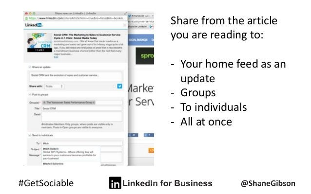 #GetSociable Share from the article you are reading to: - Your home feed as an update - Groups - To individuals - All at o...
