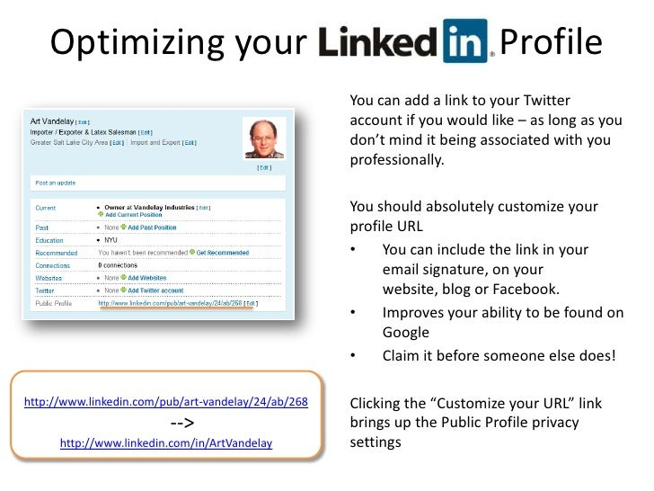 optimizing your linkedin profile br you