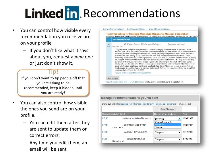 Your public profile displays the number of recommendations you have received.