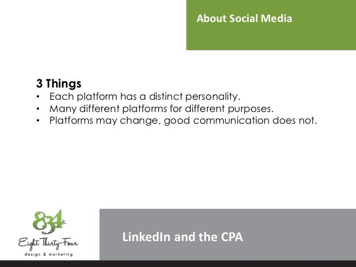 About Social Media3 Things• Each platform has a distinct personality.• Many different platforms for different purposes.• P...