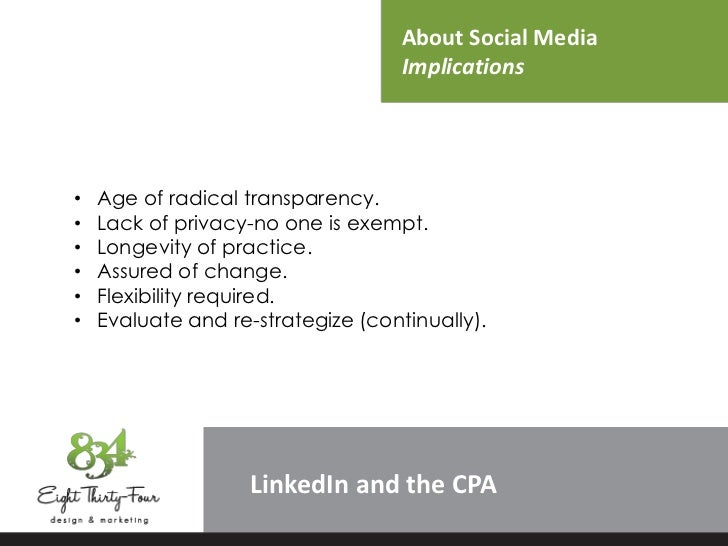 About Social Media                                    Implications•   Age of radical transparency.•   Lack of privacy-no o...