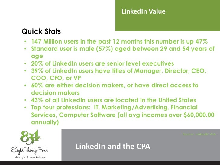 LinkedIn ValueQuick Stats• 147 Million users in the past 12 months this number is up 47%• Standard user is male (57%) aged...