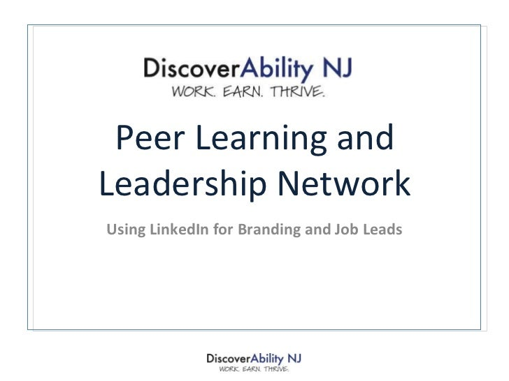 Peer Learning and Leadership Network Using LinkedIn for Branding and Job Leads