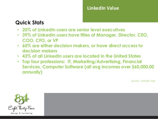 LinkedIn Value Quick Stats • 20% of LinkedIn users are senior level executives • 39% of LinkedIn users have titles of Mana...