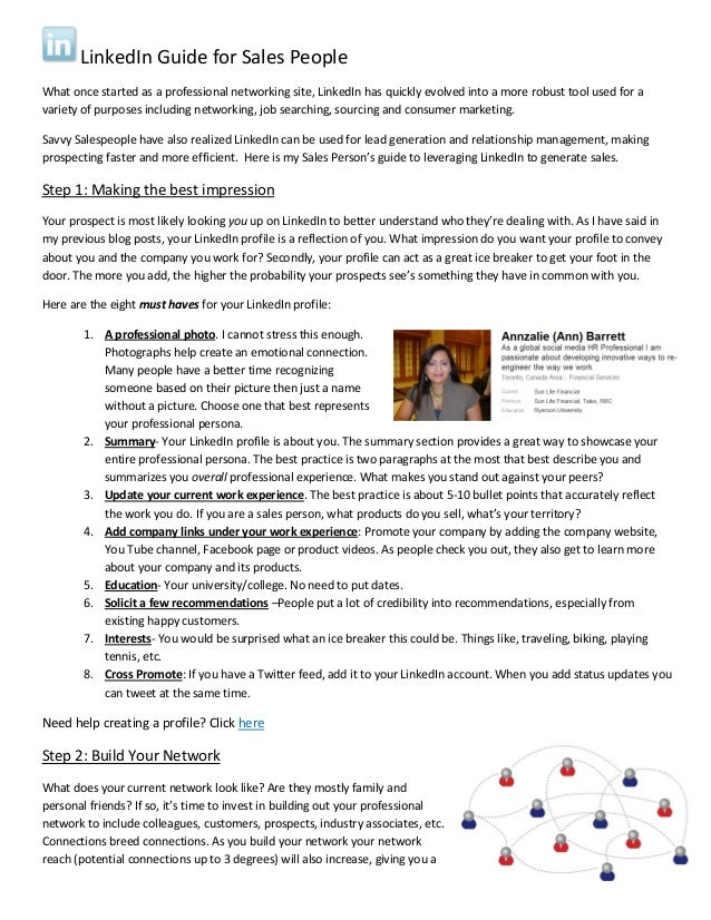 LinkedIn Guide for Sales People What once started as a professional networking site, LinkedIn has quickly evolved into a m...