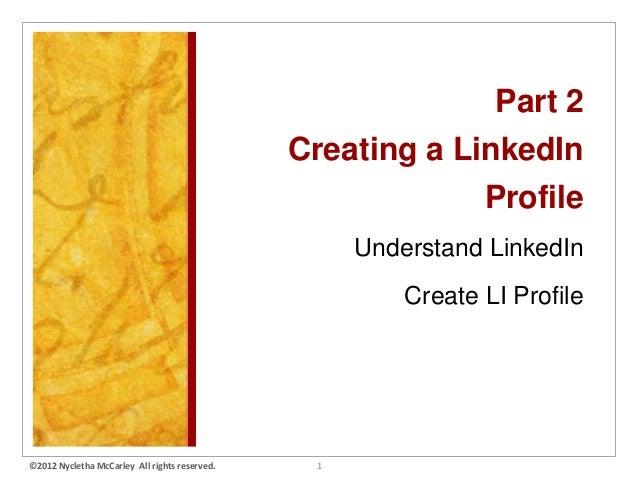 Part 2                                               Creating a LinkedIn                                                  ...