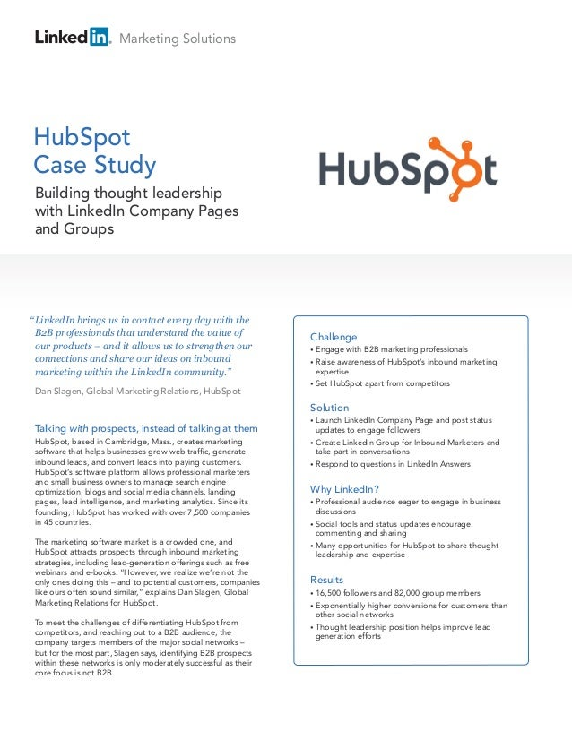 """Marketing SolutionsHubSpotCase Study Building thought leadership with LinkedIn Company Pages and Groups"""" LinkedIn brings u..."""