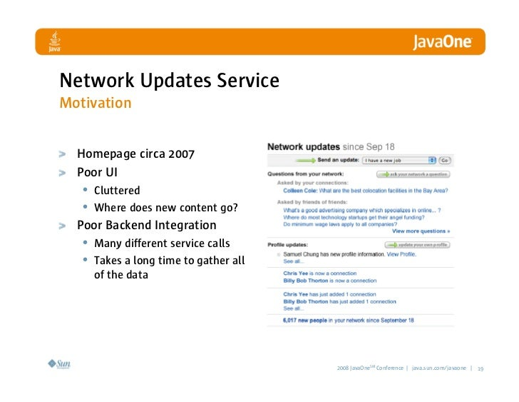 Network Updates Service Motivation     Homepage circa 2007   Poor UI    • Cluttered    • Where does new content go?   Poor...