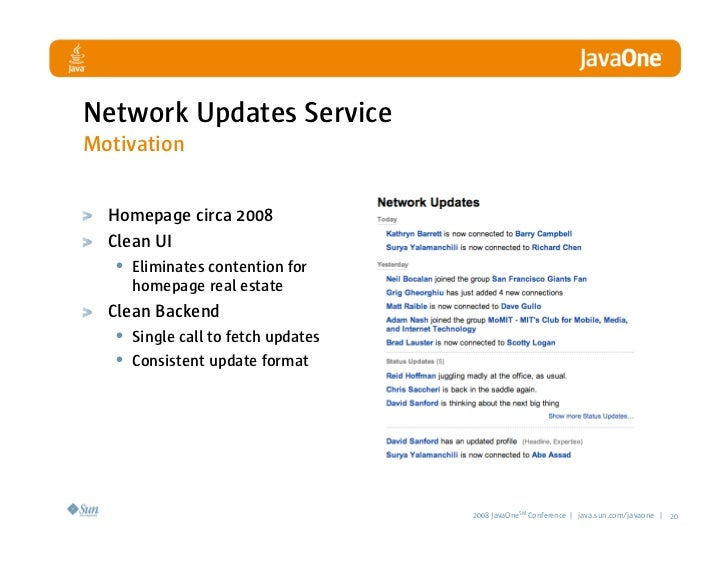 Network Updates Service Motivation Homepage