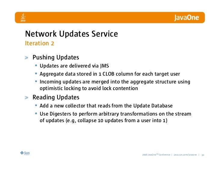 Network Updates Service Iteration 2    Pushing Updates    • Updates are delivered via JMS    • Aggregate data stored in 1 ...