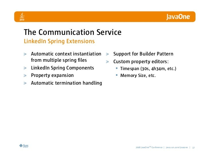 The Communication Service LinkedIn Spring Extensions   Automatic context instantiation   Support for Builder Pattern   fro...