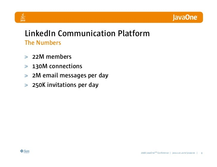LinkedIn Communication Platform The Numbers    22M members   130M connections   2M email messages per day   250K invitatio...