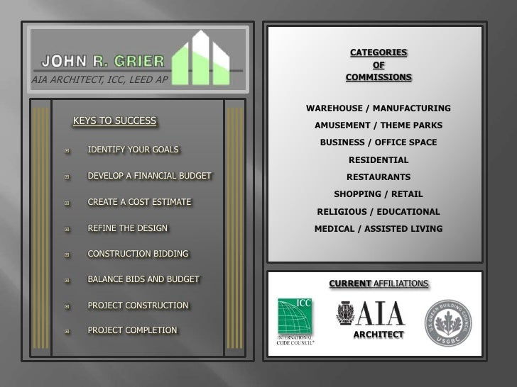 CATEGORIES<br />OF<br />COMMISSIONS<br />AIA ARCHITECT, ICC, LEED AP<br />WAREHOUSE / MANUFACTURING<br />KEYS TO SUCCESS<b...
