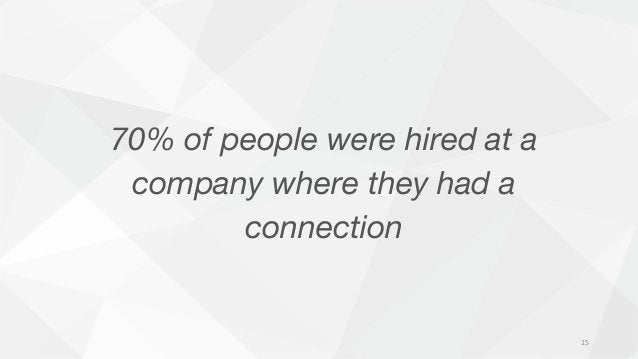 70% of people were hired at a company where they had a connection 15