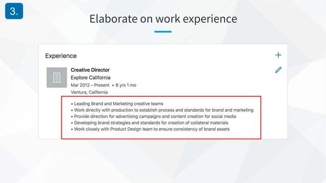 Elaborate on work experience 3.