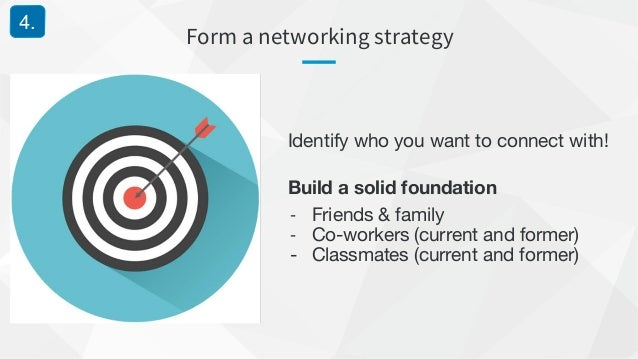 Form a networking strategy 4. Identify who you want to connect with! Build a solid foundation - Friends & family - Co-work...
