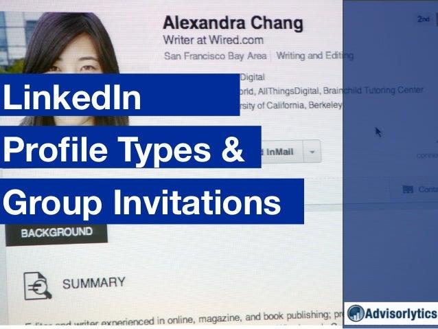 Group Invitations LinkedIn Profile Types &