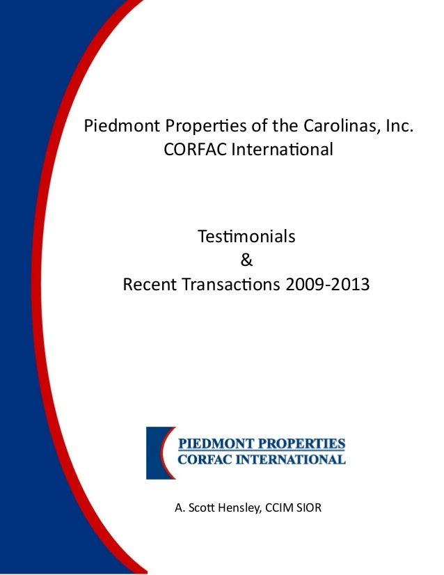 Piedmont Proper es of the Carolinas, Inc.         CORFAC Interna onal               Tes monials                   &     R...