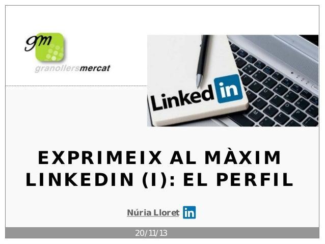 EXPRIMEIX AL MÀXIM LINKEDIN (I): EL PERFIL Núria Lloret 20/11/13