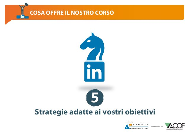 COSA OFFRE IL NOSTRO CORSO  5 Strategie adatte ai vostri obiettivi powered by  Alessandro Gini  in collaborazione con: