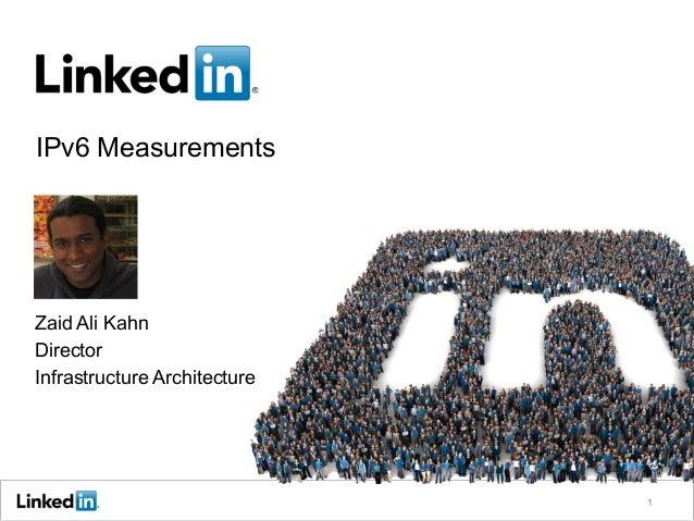 IPv6 Measurements 1 Zaid Ali Kahn Director Infrastructure Architecture