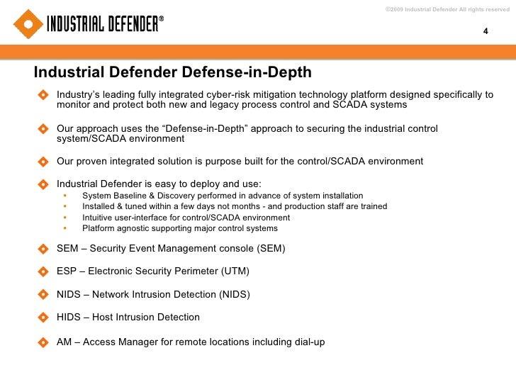 Industrial Defender Defense-in-Depth <ul><li>Industry's leading fully integrated cyber-risk mitigation technology platform...