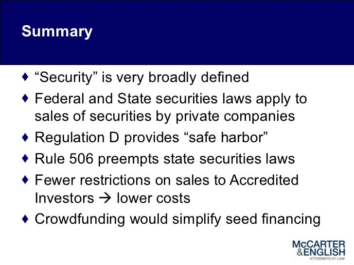 Rule 506 regulation d securities