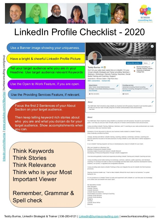 LinkedIn Profile Checklist - 2020 Use a Banner image showing your uniqueness. Have a bright & cheerful LinkedIn Profile Pi...