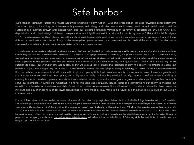 """Safe harbor 2 """"Safe Harbor"""" statement under the Private Securities Litigation Reform Act of 1995: This presentation contai..."""