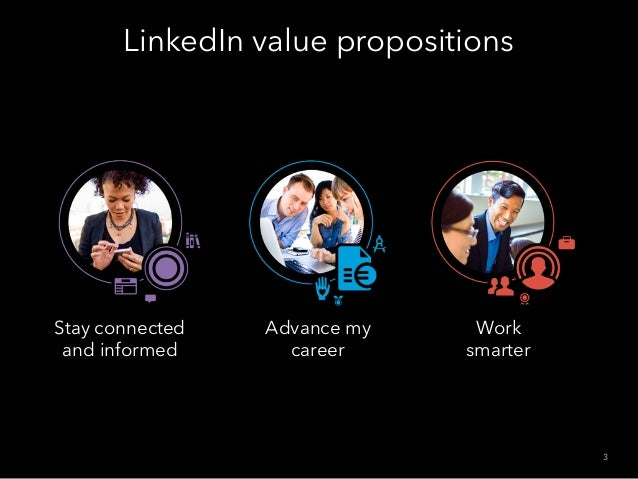 Stay connected and informed Work smarter LinkedIn value propositions 3 Advance my career