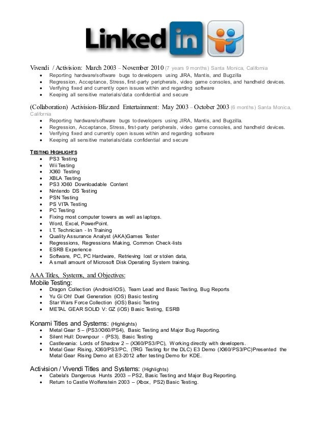 Linkedin Qa Resume