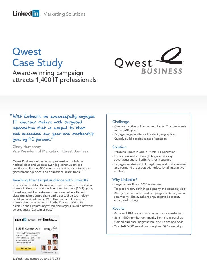 "Marketing SolutionsQwestCase Study    Award-winning campaign    attracts 1,400 IT professionals""                          ..."