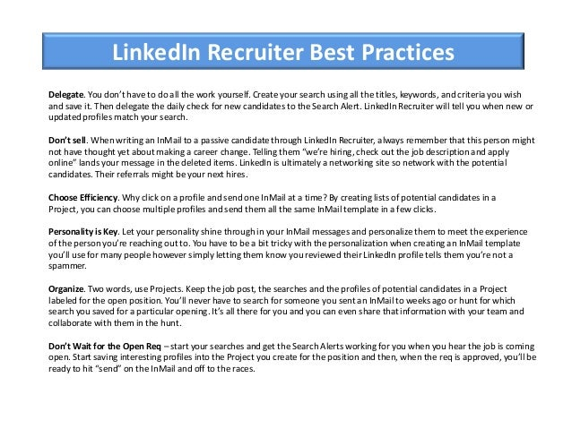 Linkedin Inmail Templates. linkedin recruiter presentation. an ...