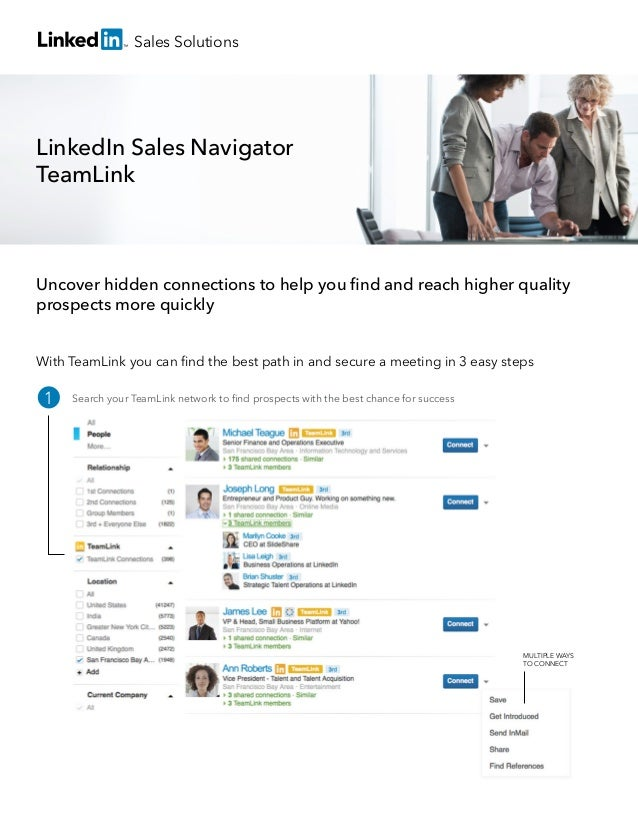 Sales Solutions  LinkedIn Sales Navigator TeamLink  Uncover hidden connections to help you find and reach higher quality pr...