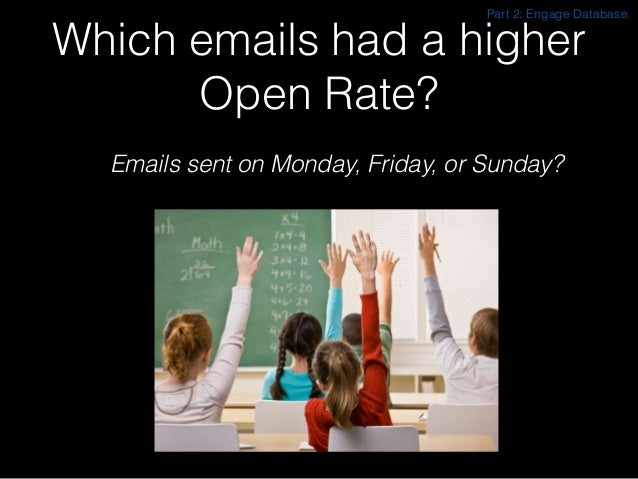 Which emails had a higher Open Rate? Emails sent on Monday, Friday, or Sunday? Part 2: Engage Database