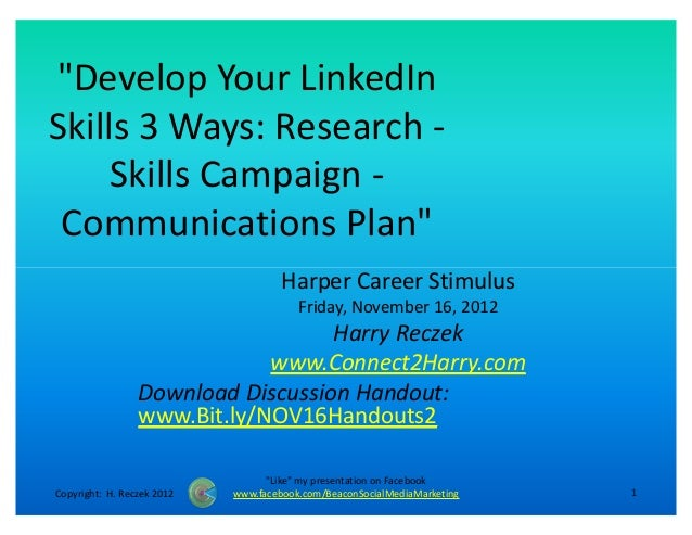 """""""Develop Your LinkedInSkills 3 Ways: Research -     Skills Campaign - Communications Plan""""                                ..."""