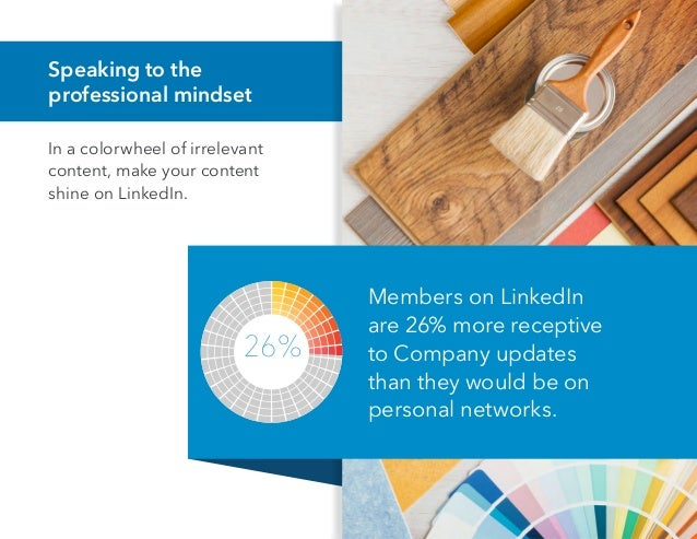 Speaking to the professional mindset In a colorwheel of irrelevant content, make your content shine on LinkedIn. Members o...