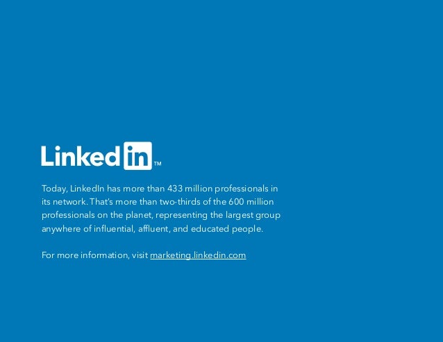 Today, LinkedIn has more than 433 million professionals in its network. That's more than two-thirds of the 600 million pro...