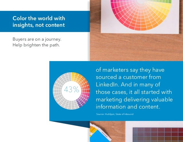 Color the world with insights, not content Buyers are on a journey. Help brighten the path. of marketers say they have sou...