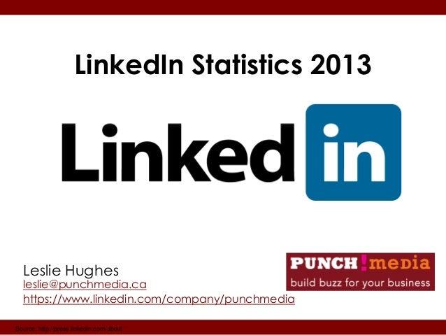 LinkedIn Statistics 2013  Leslie Hughes  leslie@punchmedia.ca  https://www.linkedin.com/company/punchmediaSource: http://p...