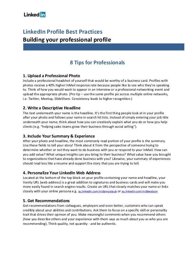 linkedin profile best practices