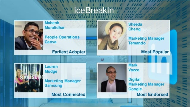 Earliest Adopter Most Connected Most Popular Most Endorsed IceBreakIn Mahesh Muralidhar People Operations Canva Lauren Mud...