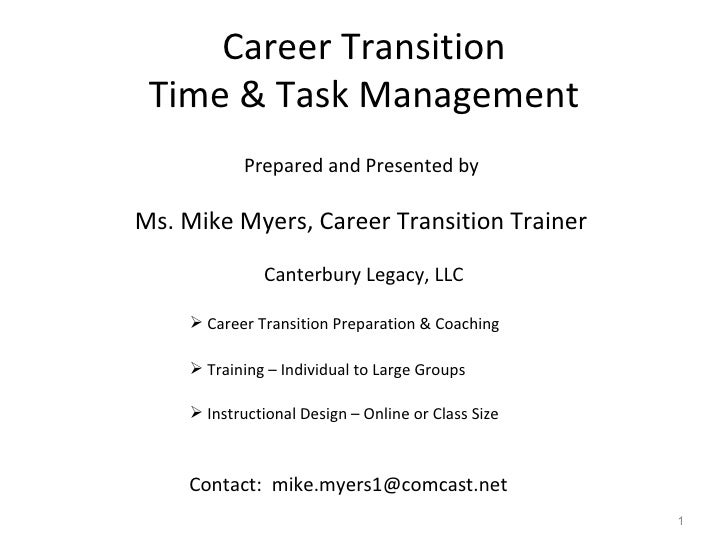 Career Transition Time & Task Management <ul><li>Prepared and Presented by  </li></ul><ul><li>Ms. Mike Myers, Career Trans...