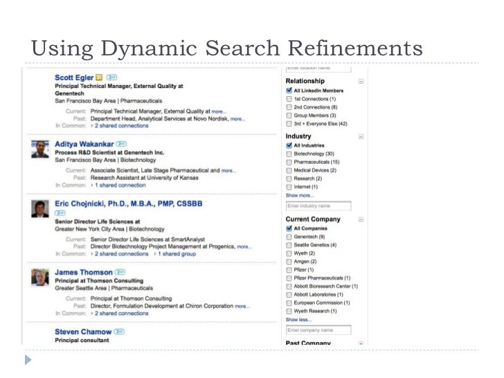 Using Dynamic Search Refinements