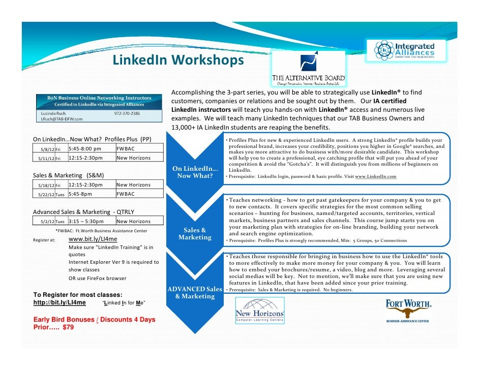 LinkedIn Training Announcement 050112