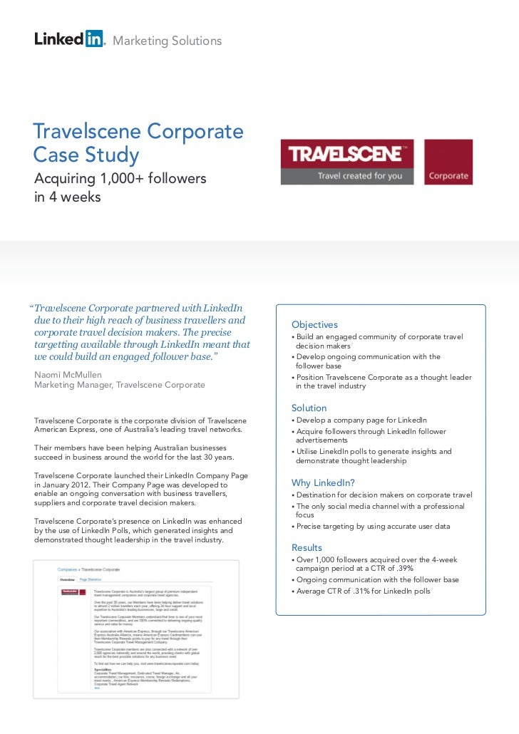 "Marketing SolutionsTravelscene CorporateCase Study Acquiring 1,000+ followers in 4 weeks"" Travelscene Corporate partnered ..."