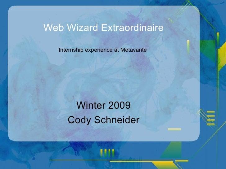 Web Wizard Extraordinaire Winter 2009 Cody Schneider Internship experience at Metavante