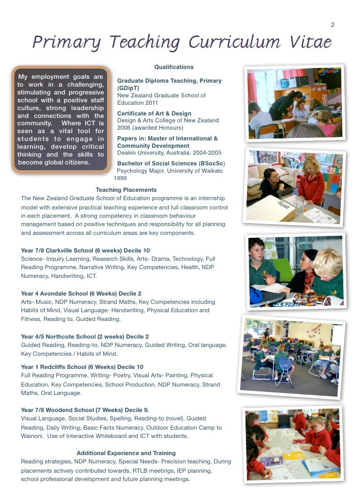 Primary Teacher Cv  BesikEightyCo