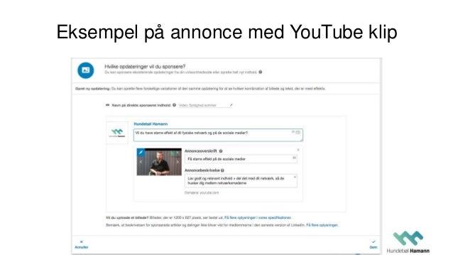 Eksempel på annonce med YouTube klip